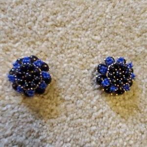 J. Crew navy blue bead flower earings.